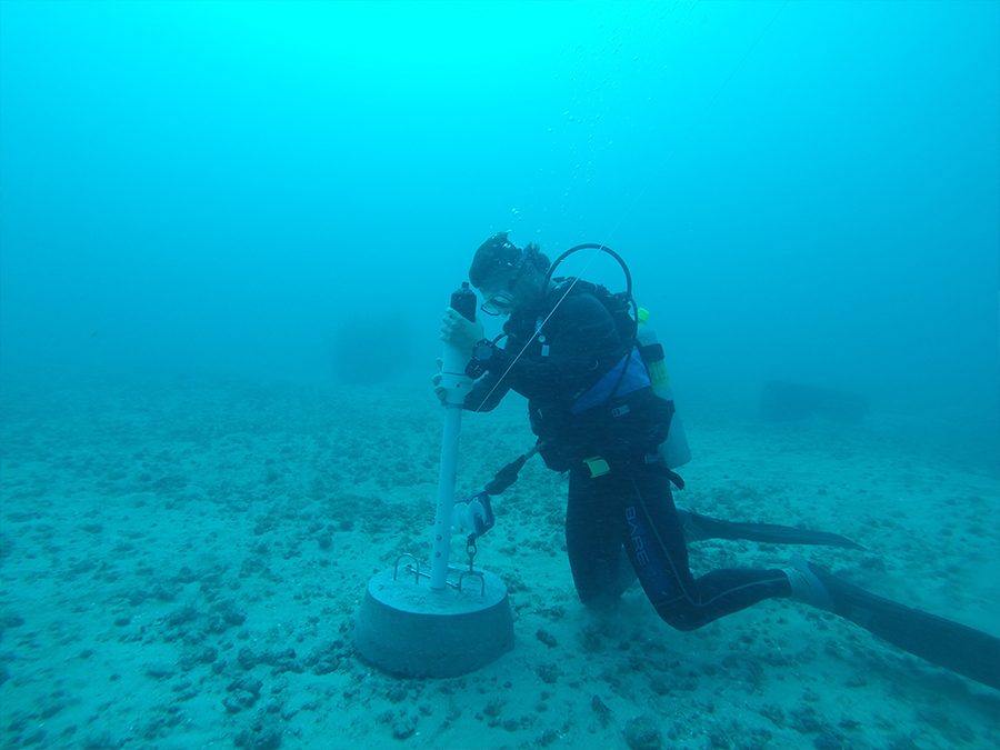 Acoustic receiver being placed at the Reef Dart Site